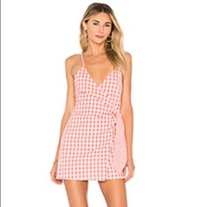 Lovers + Friends pink and white mini wrap dress